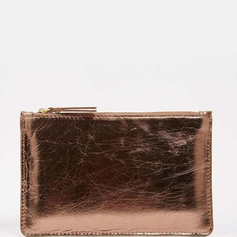 Flat Leather Pouch Clutch Bag