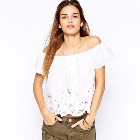 Off Shoulder Broiderie Swing Top