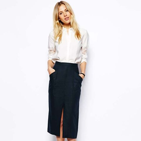 Linen Split Front Pencil Skirt