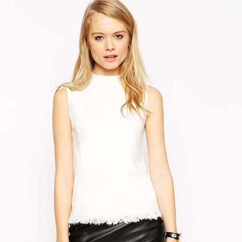 Tank in Structured Knit with Fringing