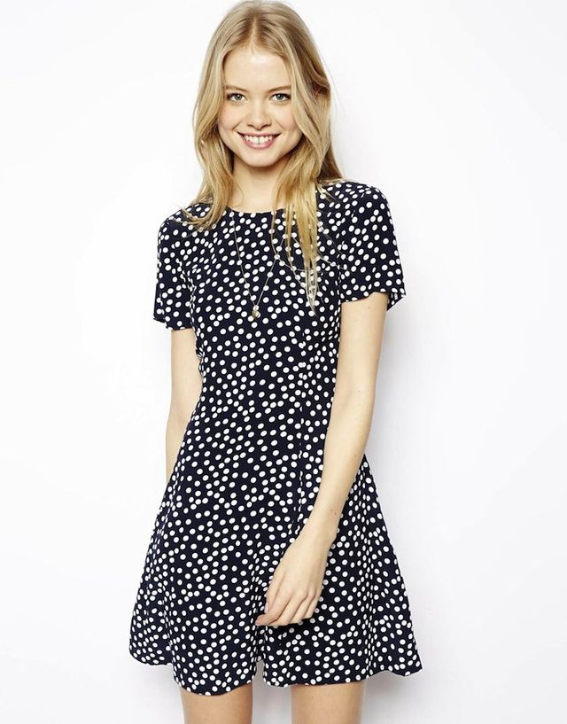 ASOS Skater Dress In Polka Dot with Cut Out Back