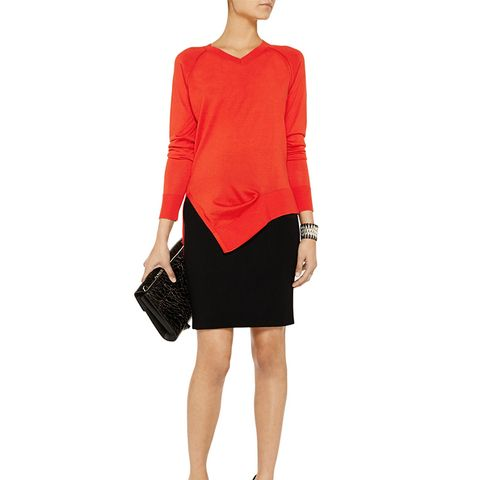 Tuck Asymmetric Stretch Silk and Cotton-Blend Sweater