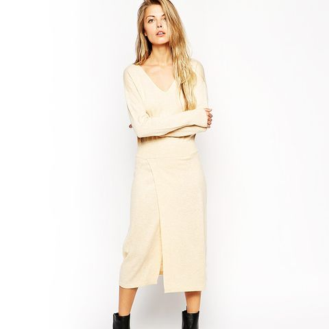 Knitted Midi Dress with Thigh Split