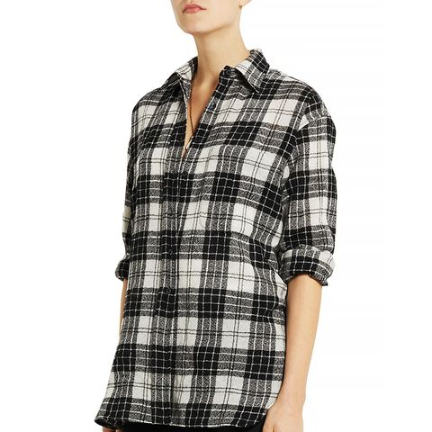 Oversized Plaid Wool Shirt