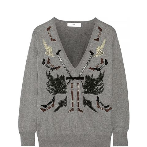 Embellished Cotton-Blend Sweater