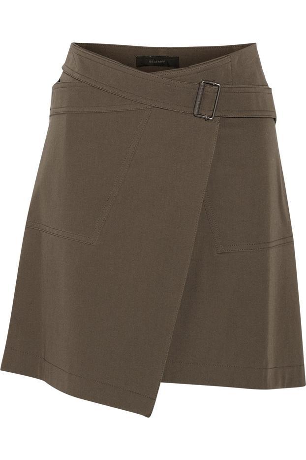 Belstaff Ryder Stretch-Cotton Twill Wrap Mini Skirt
