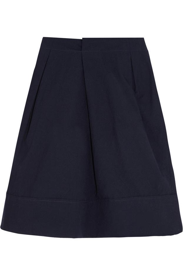 Jil Sander Pleated Cotton-Blend Skirt