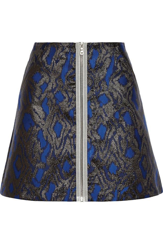 Markus Lupfer Dore Metallic Jacquard Mini Skirt
