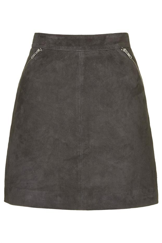 Topshop Tall Exclusive Suede Zip Skirt