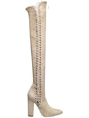 Salvatore Ferragamo  Sakis Suede Corset Boots
