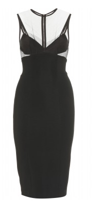 Victoria Beckham Dress with Mesh Overlay and Cut-Out Detail