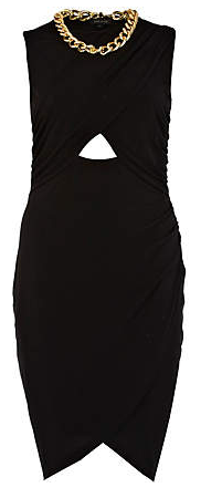River Island Black Cut-Out Wrapped Necklace Dress