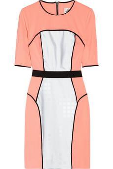 Milly  Neon Mesh-Paneled Ponte Dress