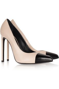 Saint Laurent  Two-Tone Pointed Leather Pumps
