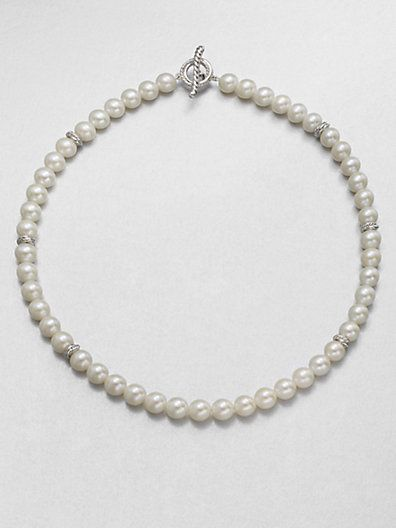 David Yurman  White Freshwater Pearl Necklace