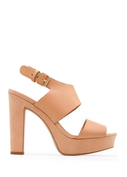 Mango Touch Leather and Suede Sandals
