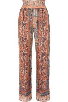 Isabel Marant Sydney Printed Silk-Gauze Wide-Leg Pants