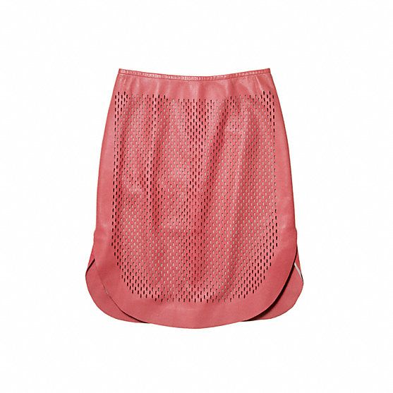 Reed Krakoff  Perforated Curved Pencil Skirt