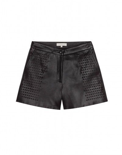 Sandro  Planete Black Leather Shorts
