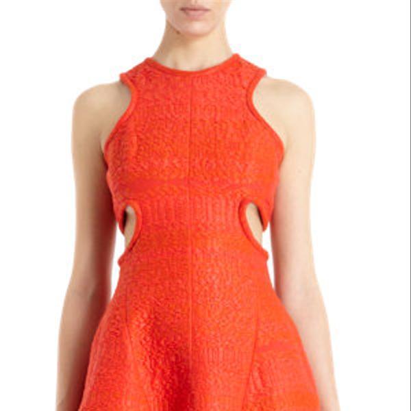 Carven Sleeveless Cutout Sides Raffia Dress