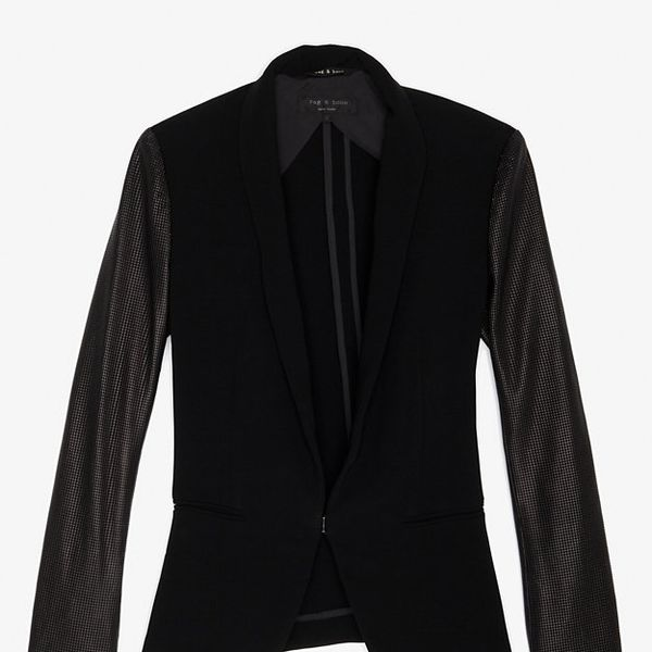 Rag & Bone Exclusive Leather Sleeve Sliver Blazer