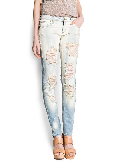 Mango Distressed Super Slim Jeans