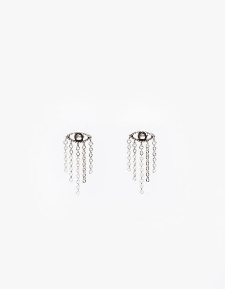 In God We Trust Evil Eye Studs with Fringe
