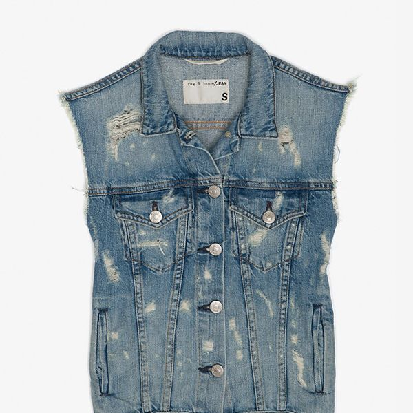 Rag & Bone/Jean  Burney Tattered Denim Vest