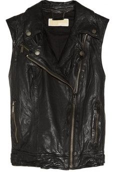 MICHAEL Michael Kors   Washed-Leather Biker Vest