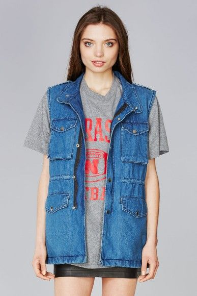 Supermuse  Denim Cargo Vest