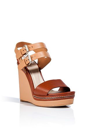 Chloe  Leather Wedge Sandals