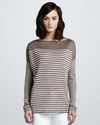 Vince  Breton Striped Boat Neck Top