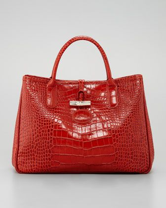 Longchamp  Roseau Crocodile-Embossed Tote Bag