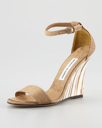 Manolo Blahnik  Izione Ankle-Strap Wedge Sandals