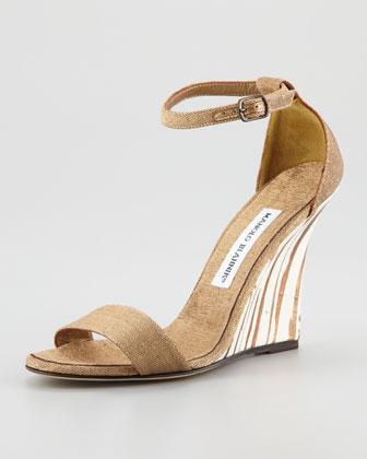 Manolo Blahnik  Izione Ankle-Strap Wedge Sandals