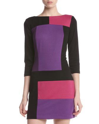 Jax Colorblock Three-Quarter Sleeve Dress