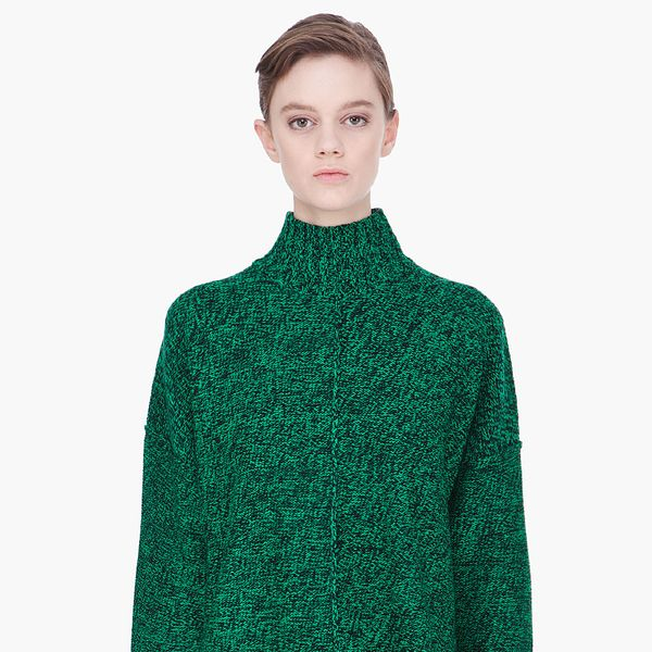 T By Alexander Wang Green Marled Wool Boxy Sweater