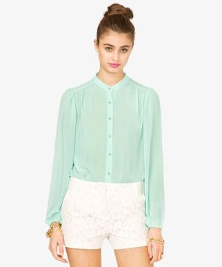 Forever 21 Round Collar Chiffon Shirt