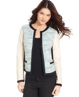 DKNYC Faux-Leather Ponte-Knit Sleeve Tweed Blazer