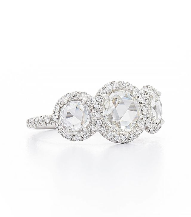 Fred Leighton Three Stone Rose Cut Diamond Ring