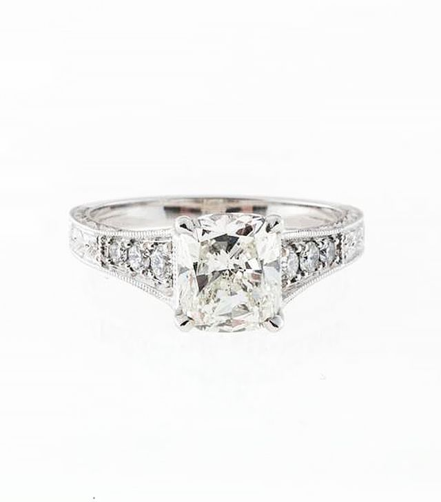 Peter Suchy Cushion Diamond Engraved Platinum Ring