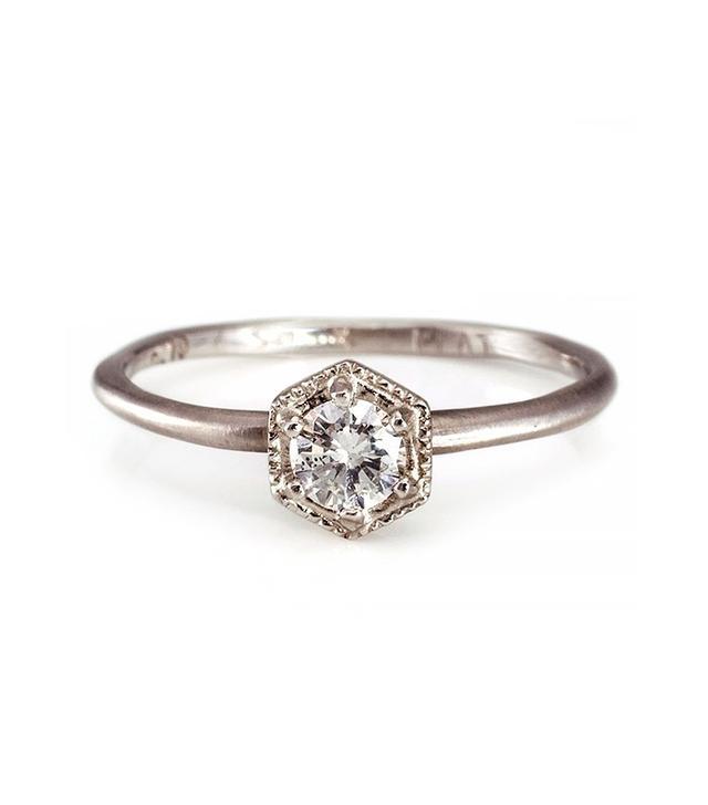 Satomi Kawakita Hexagon Ring White Diamond