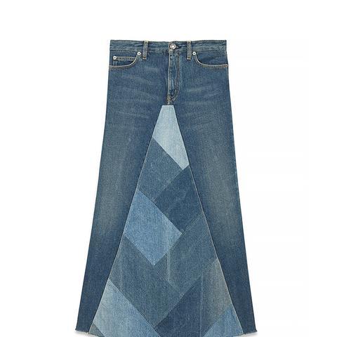 A-Line Patchwork Long Skirt