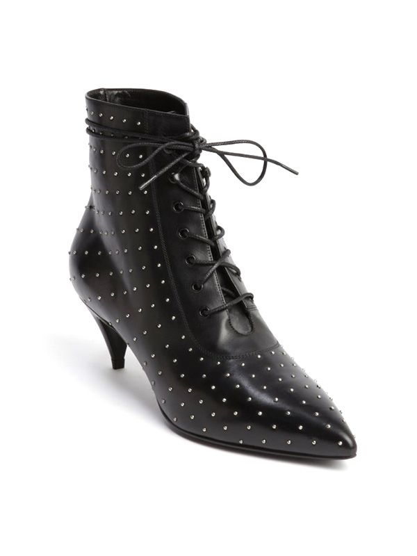 Saint Laurent Black Leather Silver Studded Lace-Up Boots