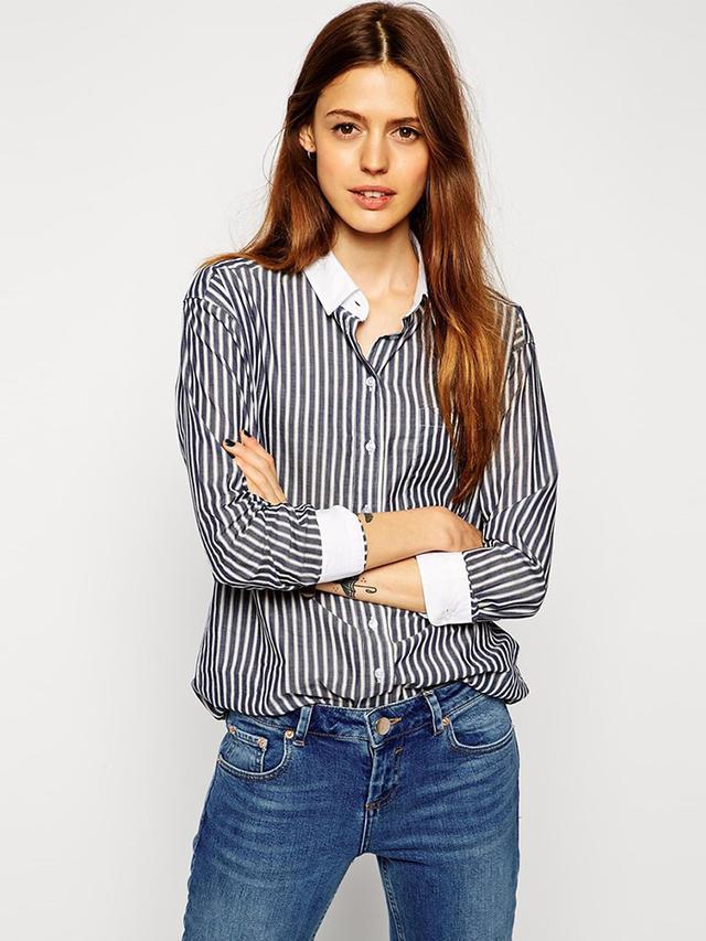 ASOS Stripe Shirt With White Collar
