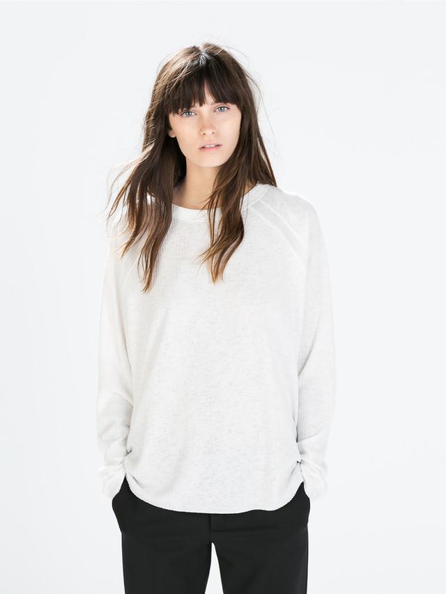Zara Raglan-Sleeved Ribbed T-Shirt