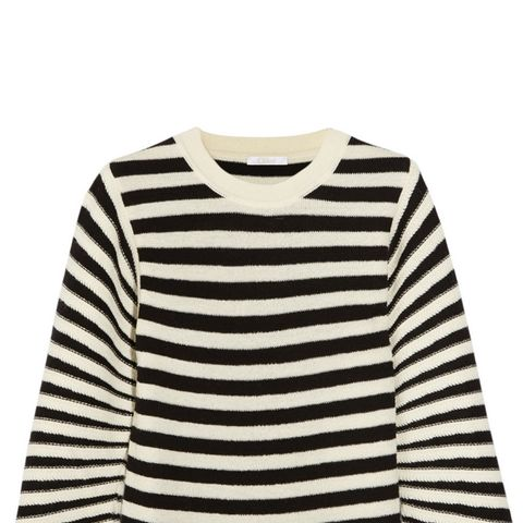 Striped Textured-Wool Sweater