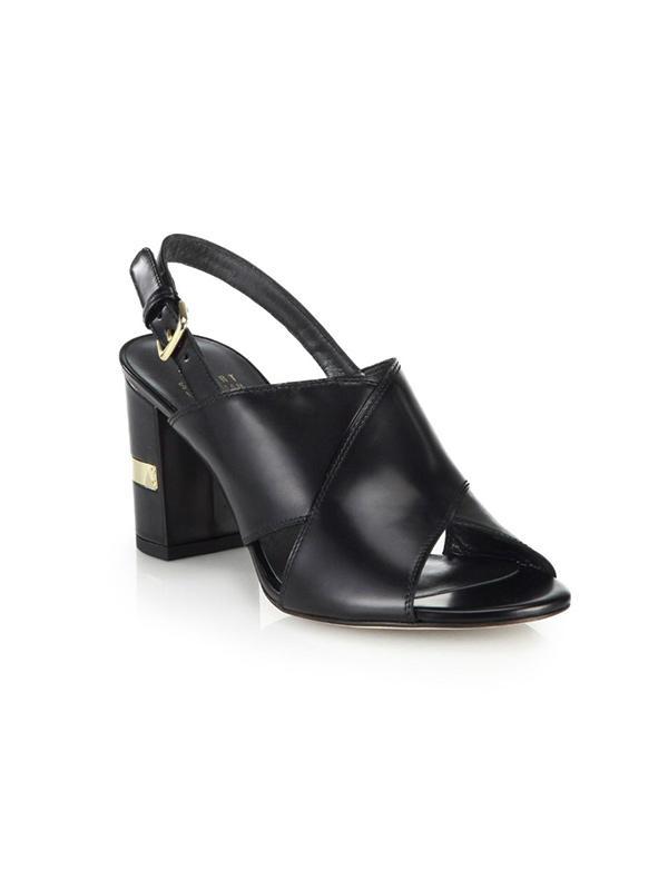 Stuart Weitzman Crisscross Leather Block Sandals