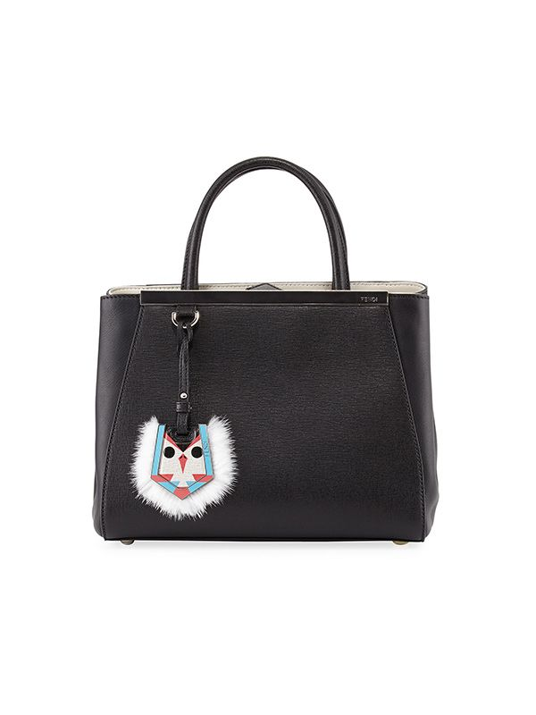 Fendi 2Jours Petit Monster-Charm Shopping Tote Bag