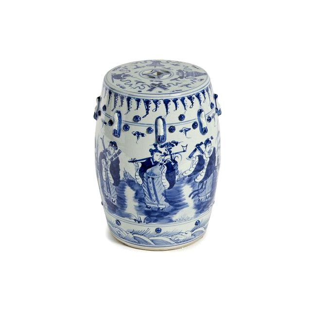 Furbish Studio Blue and White Garden Stool